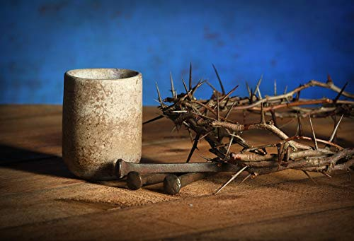 Yeele Backdrops 6x4ft Crown of Thorns Nails Christ Resurrection Ceramic Cup lron Nail Easter Christian Religious Pictures Adult Artistic Portrait Photoshoot Props Photography Background -