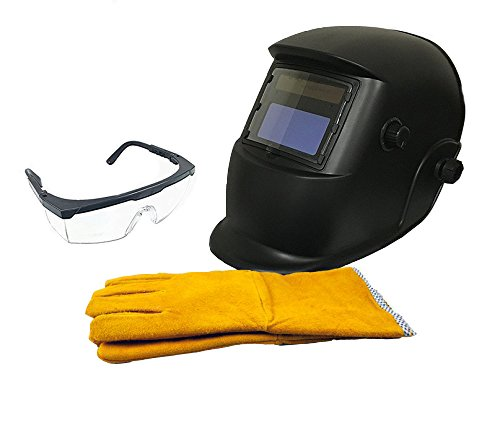 "Instapark ADF Series GX-350S-KIT Solar Powered Auto Darkening Welding Helmet Black with 14"" Split Leather Welding Gloves & Safety Goggles with Black Frame and Clear Lens (Black Goggle Clear Frame Lens)"
