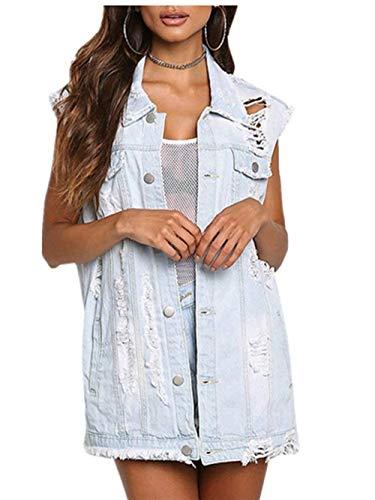 Single Jeans Giaccone Giacca Confortevole Strappato Estivi Bavero Casual Smanicato Elegante Moda Giacche Di Breasted Cute Blau Chic Baggy Outerwear Donna XY4w5qSxZX