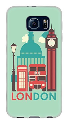 London Double Decker Bus} Soft and Smooth Silicone Cute 3D Fitted Bumper Back Cover Gel Case for Samsung Galaxy S6 {Color is Teal, Red and (Gothic Disney Characters)