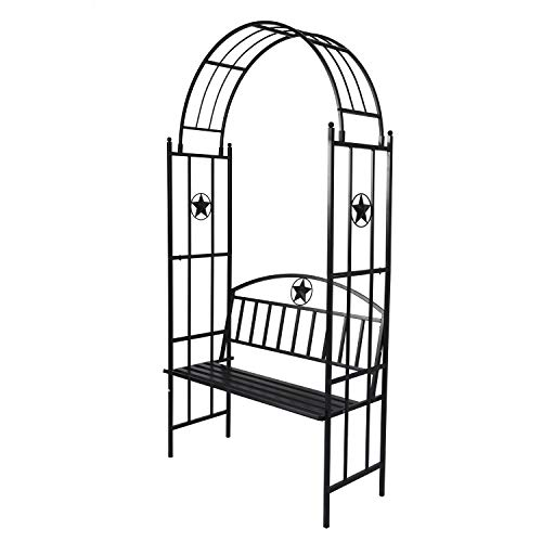 Kinbor Garden Arch with Bench Metal Arbor with Seat for Backyard Lawn (Arch Bench Garden)