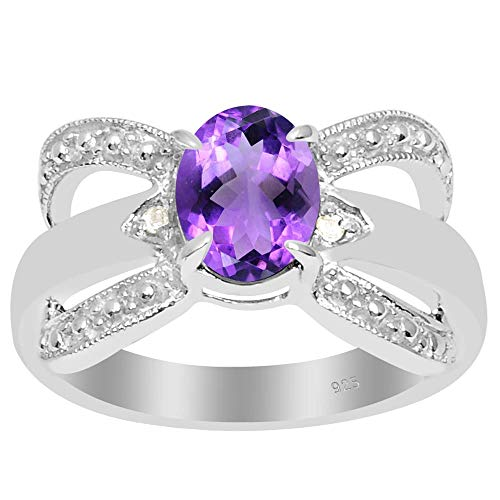 Amethyst & Diamond Stone Rings For Women By Orchid Jewelry: Anniversary & Promise Rings For Women & Her, Purple February Birthstone Wedding Jewelry, Fashion Rings Size 6 (1.10 Ctw)
