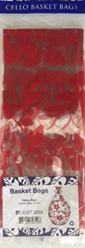 Great Lines Hawaiian Cello Gift Basket Bags 3 per package (Hoku Red) (Hawaiian Christmas Gift Baskets)