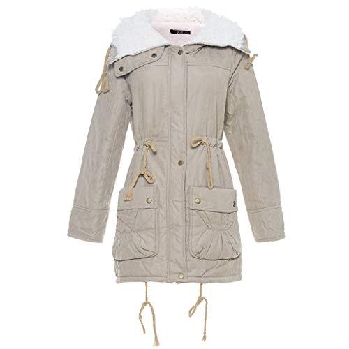 ANJUNIE Warm Long Coat for Womens Hooded Jacket Slim Winter Parka Outwear Coats(Khaki,2XL)
