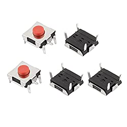 uxcell 5Pcs 6mmx6mmx3.1mm Panel PCB Momentary Tactile Tact Push Button Switch 4 Pin DIP