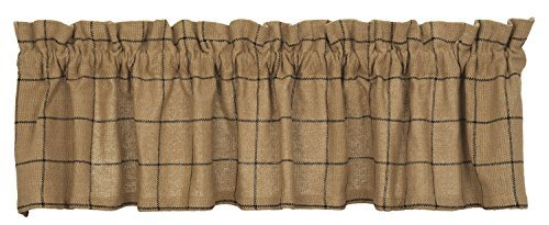 (New IHF Burlap Check Design Window Curtain Valance 100% Cotton 72 x 14 Inches Natural Sand Color)