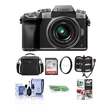 Panasonic Lumix DMC-G7 Mirrorless Micro 4/3s Camera with 14-42mm Lens,  SILVER - Bundle with Camera Case, 32GB SDHC Card, Cleaning Kit, Memory  Wallet,