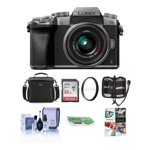 (Adorama Panasonic Lumix DMC-G7 Mirrorless Micro 4/3s Camera 14-42mm Lens, SILVER - Bundle Camera Case, 32GB SDHC Card, Cleaning Kit, Memory Wallet, Card Reader, 46mm UV Filter, Software Package)