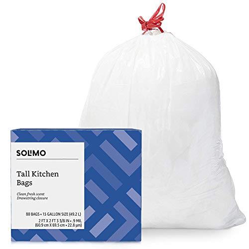 Amazon Brand - Solimo Tall Kitchen Drawstring Trash Bags, Clean Fresh Scent, 13 Gallon, 80 Count by Solimo