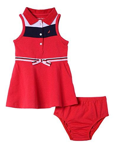 (Nautica Baby Girls Patterned Sleeveless Dress, Chevron Red, 12M)