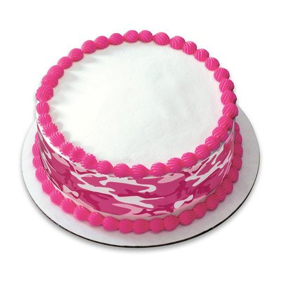 Sparkle Camo (Pink Camo Birthday Peel & STick Edible Cake Topper Decoration for Cake Borders w. Sparkle Flakes & Favor Labels)