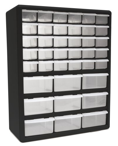 Homak 39-Drawer Parts Organizer, Black, HA01039001