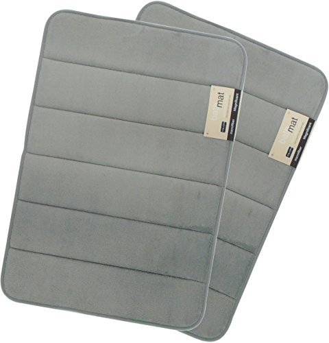 Magnificent 17 X 24 inch Memory Foam Bath Mat, Soft, Non-slip, High Absorbency - 2 Pack (Grey) ()