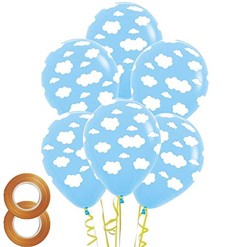 12 Inch Cloud Print Light Blue Latex Balloons,50 Count For Children Boys Girls Birthday Party Baby Shower Decoration ()