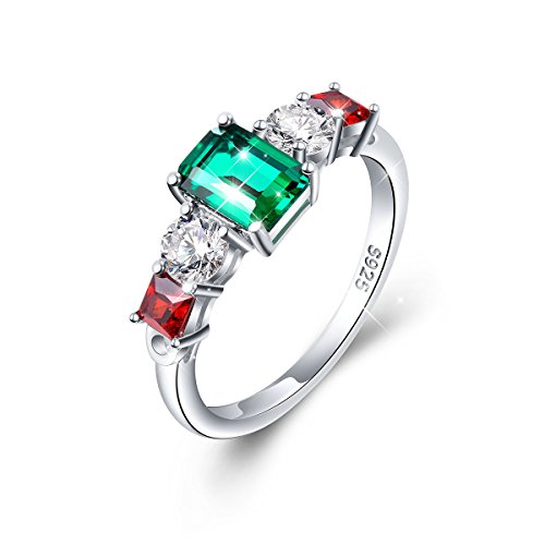 Vintage Elegant Jewelry 925 Sterling Silver Green and Red Cz Ring for Women Size 7 8 9