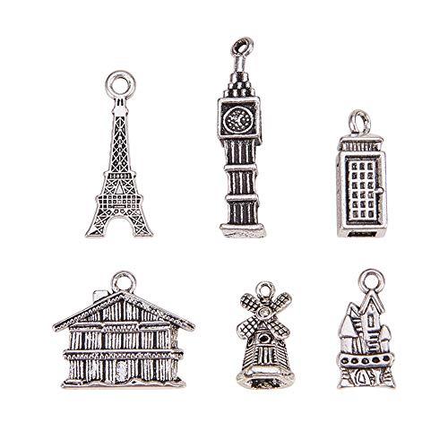 Pandahall 12PCS(6pcs/set, 2 sets) Vintage Alloy Building Pendants Lead Free, Antique Silver