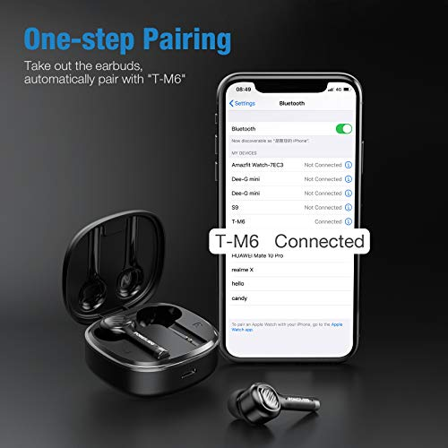 True Wireless Earbuds Bluetooth with Dual Microphones CVC8.0 Noise Cancelling, POWERADD M6 TWS Earbuds BT 5.0 with Charging Case Ergonomic bass in-Ear Headphones, Earphones for iOS/Android, Black
