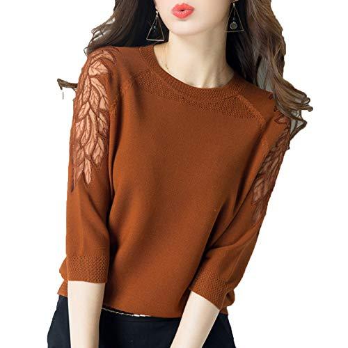Redondo Cuello Liso Xyujie Top Slim Punto Brown Encaje De Fit Color Elegante Jersey wt5txrqCd