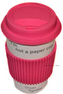 I'm Not A Paper Cup: Thermal Insulated Ceramic Eco Cup Travel Mug with Silicon Lid (pink)