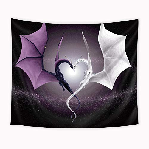 Riyidecor Dragon Tapestry Fantasy Wild Animals Heart Shaped Purple White Lover Couple Anime Romantic Wall Art Hanging Bedroom Living Room Dorm 51x59 Inches Wall Blankets Home Decor Fabric