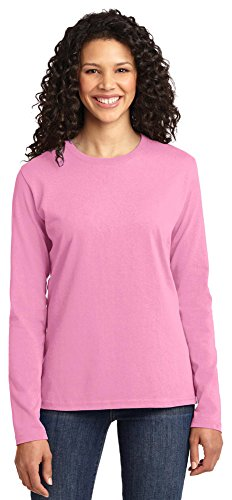 Candy Womens Pink T-shirt (Port & Company Ladies Long Sleeve 100% Cotton T-Shirt, Candy Pink, Large)
