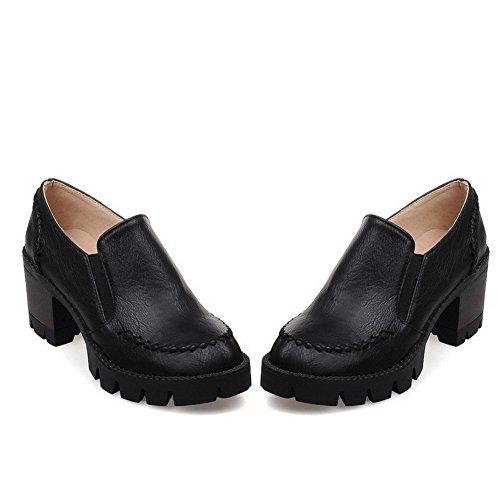 Allhqfashion Dames Ronde Gesloten Teen Kitten-hakken Zacht Materiaal Stevige Aantrek Pumps-schoenen Zwart