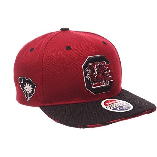 NCAA South Carolina Fighting Gamecocks Adult Mens Drop Step Snapback Hat, Adjustable Size, Team Color