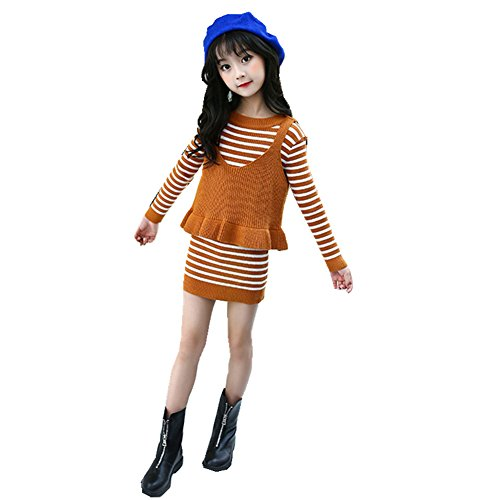 FTSUCQ Girls Pullover Slim Knitted Sweater Knitwear Dress + Camisole,Khaki 160
