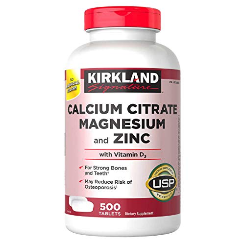 Kirkland Signature Expect More Calcium Citrate Magnesium and Zinc, 500 Tablets