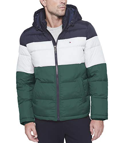 Tommy Hilfiger Men's Classic Hooded Puffer Jacket, Green Combo, Large