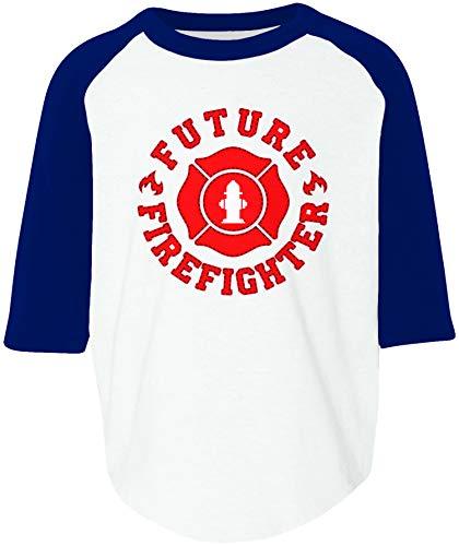 Amdesco Future Firefighter Toddler Raglan Shirt, White/Navy 4T