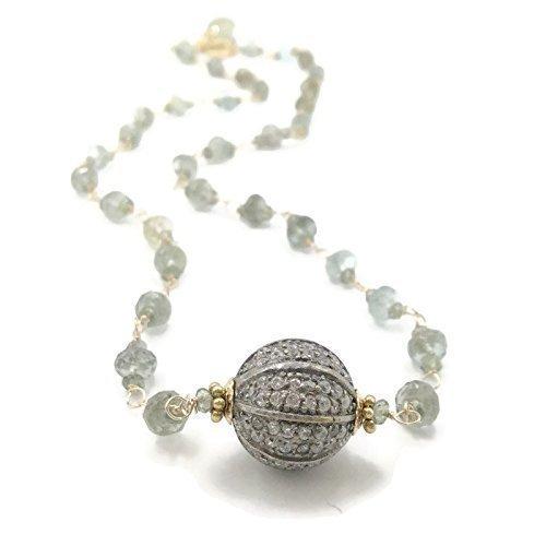 Aquamarine Sapphire Rosary Necklace   Handmade Pave Gemstone Gifts   Mint Green Jewelry Sale