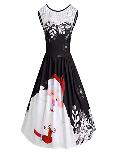 iYBUIA Fashion Women O-Neck Merry Christmas Lace Sleeveless Insert Santa Claus Print Ankle-Length Party Dress