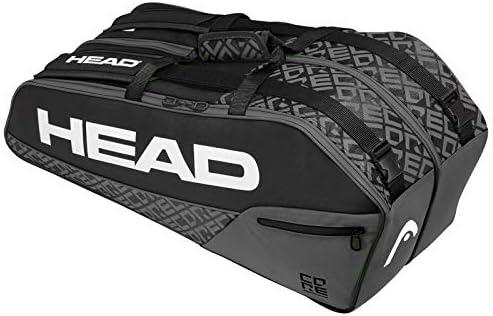 HEAD Core 6R Combi Tennis Racquet Bag - 6 Racket Tennis Equipment Duffle Bag, Black/Grey