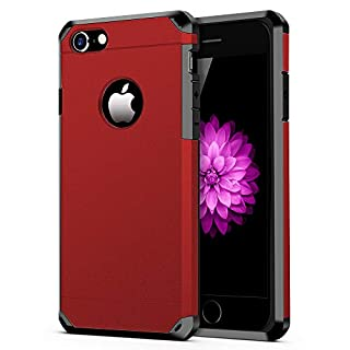 iPhone 7/8 Case, ImpactStrong Heavy Duty Dual Layer Protection Cover Heavy Duty Case for iPhone 7/8 (Deep Red)