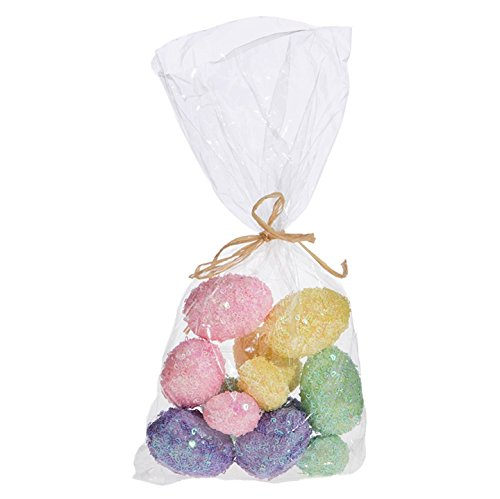Bag of 12 Assorted Multicolored Sparkling Decorative Glitter Easter Eggs