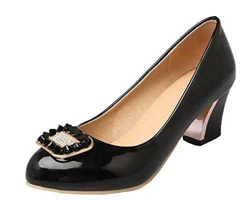 Sin Sólido Zapatos Mujeres Aalardom Tacón De Tsmdh004232 Cordones Negro EqFwg7U