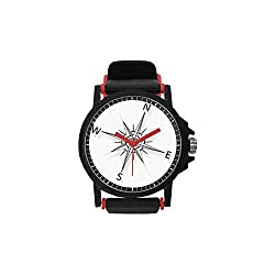 Compass Unisex Stylish Watch,Black and White Compass for Finding Your Way on The Sea Marine Life Exploration for Leisure,Diameter(Watch face): 1.5