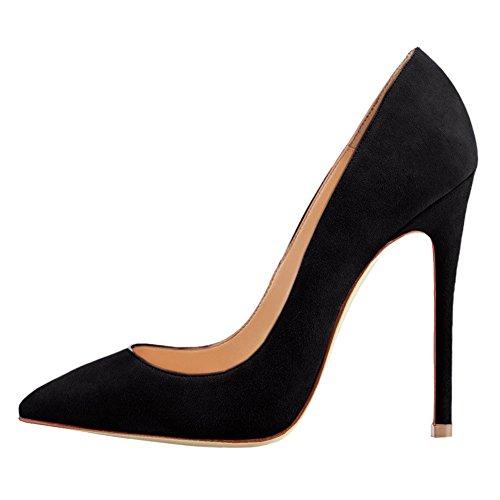 EKS - Zapatos de vestir de charol para mujer Schwarz-Faux Wildleder