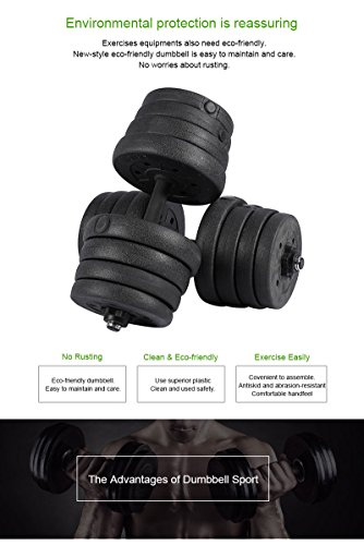 66 LB/30KG Weight Dumbbell Set, 1 Pair Adjustable Cap Gym Dumbells Weights Biceps Workout Exercise Training Fitness