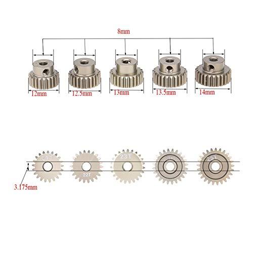 Fevas 5pcs Brand New 48DP 21T 22T 23T 24T 25T Pinion Motor Gear Combo Set for 1/10 Rc Car Brushed Brushless Motor ()