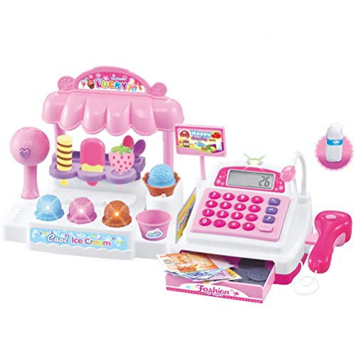 Liberty Imports Ice Cream Store Cash Register with Pretend Play Desserts, Working Scanner, Calculator, Microphone, Money and Credit Card