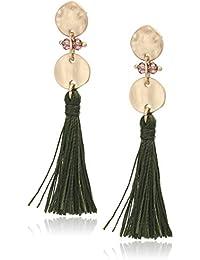 Women's Gold Tone Multi Post Tassel Linear Earrings, One Size