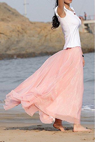 Maxi Plage Rtro Longue Robe Pliss Casual Femme Bohme pink Jupe dwBtq0x0