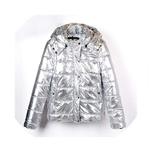 Women Coat Metal Ladies Parka Fashion Winter Warm Coat Dames Abrigos Mujer,Silver Thin,M
