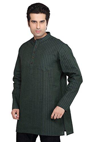 Shatranj Indian Men's Kurta Tunic Banded Collar Multi-Stripe Shirt X-Large GREEN
