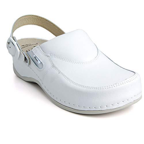 Zuecos Sandalias Batz Zapatillas Cuero De Fc10p Zapatos Blanco Mujer HzaaEqwx