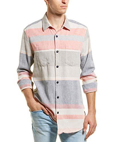 Scotch & Soda Mens Long Fit Woven Shirt, L, Red