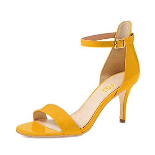Yellow 4 for Ankle Sandals Size Low with Toe 15 Women Shoes Open Comfort US FSJ Heels Strap Vintage q6fxgTw4