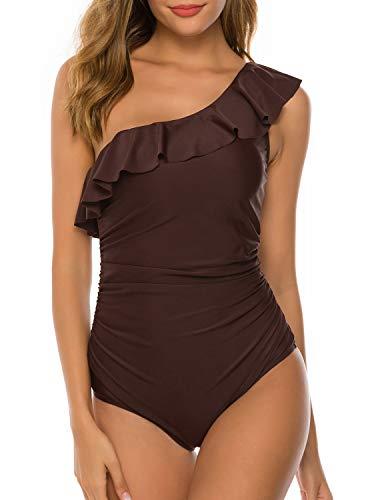 HONYAR Swimwear for Women, Womens One Piece Swimsuits One Shoulder Bathing Suit Ruffle Push Up Swimwear Tummy Control (Gift-Waterproof-Case) - XL Coffee ()